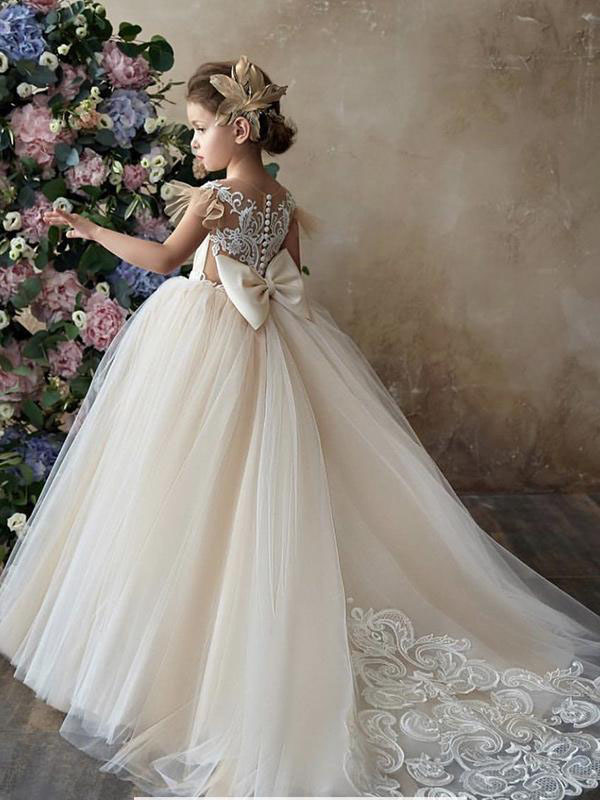 Shop Champagne Ball Gown Lace & Tulle Long Flower Girl Dress Bunbury