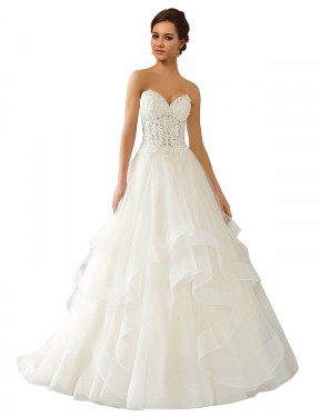 Shop Ivory Ball Gown Lace & Satin & Tulle Long Reese Wedding Dress Bunbury