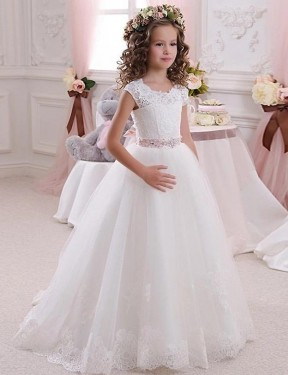Shop Ivory Ball Gown Lace & Tulle Long Flower Girl Dress Bunbury