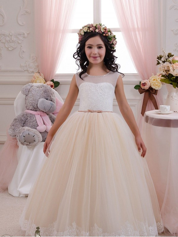 Shop Ivory & Champagne Ball Gown Lace & Tulle Long Flower Girl Dress Bunbury